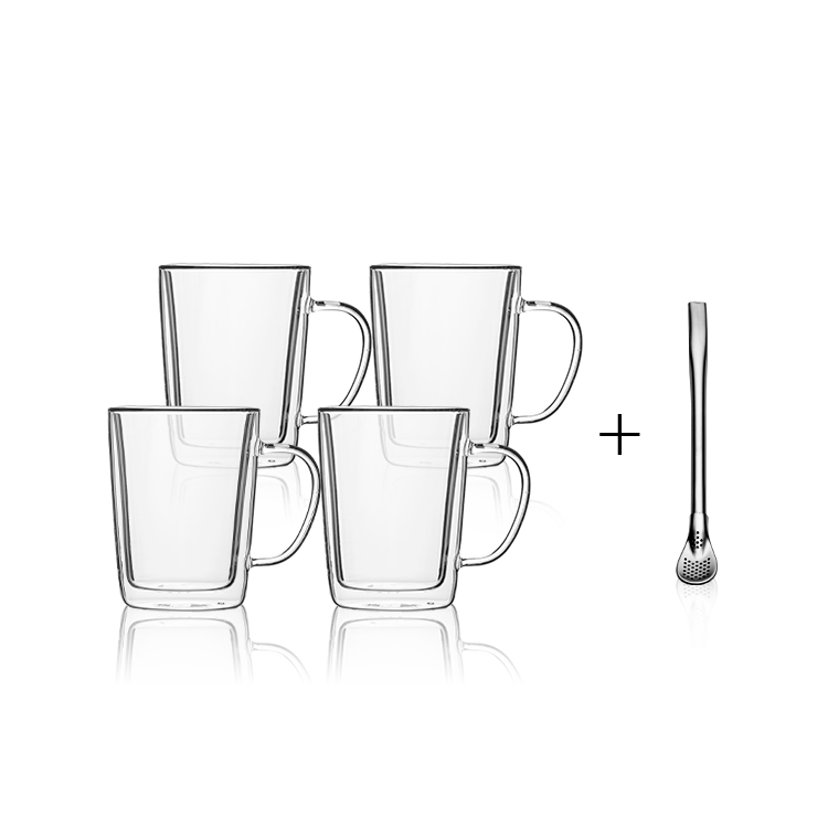 Tasse BASIC Glas Double Wall 300 ml – Set 4 tlg.