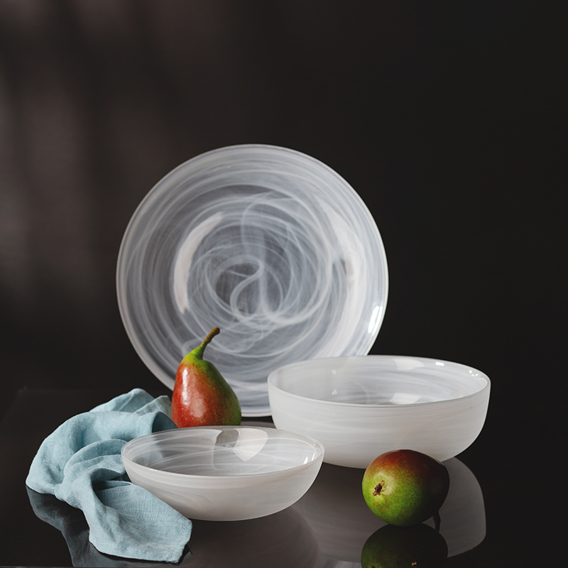 Teller flach weiss 21 cm - Elements Glas